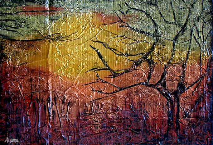 Abstract, Sunset, Metallic, Impressionist, Tree, Sun